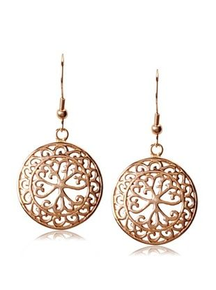 65% OFF Chloe by Liv Oliver Rose Gold Cut-Out Disc Earrings