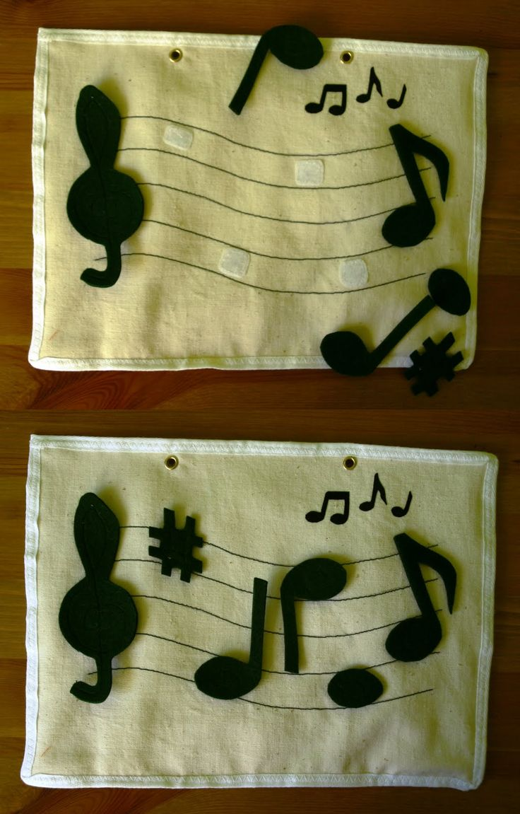 Quiet book ideas - Put the music notes on the staff.
