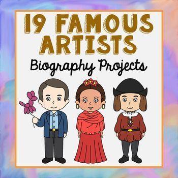 Famous Artists Biography Research Brochure Projects with Interactive Notebook Pocket. Andy Warhol, Jackson Pollack, Leonardo da Vinci, Michelangelo, Frida Kahlo, Pablo Picasso, Vincent van Gogh, Jeff Koons, Romare Bearden, Edvard Munch, Henri Matisse, Geo