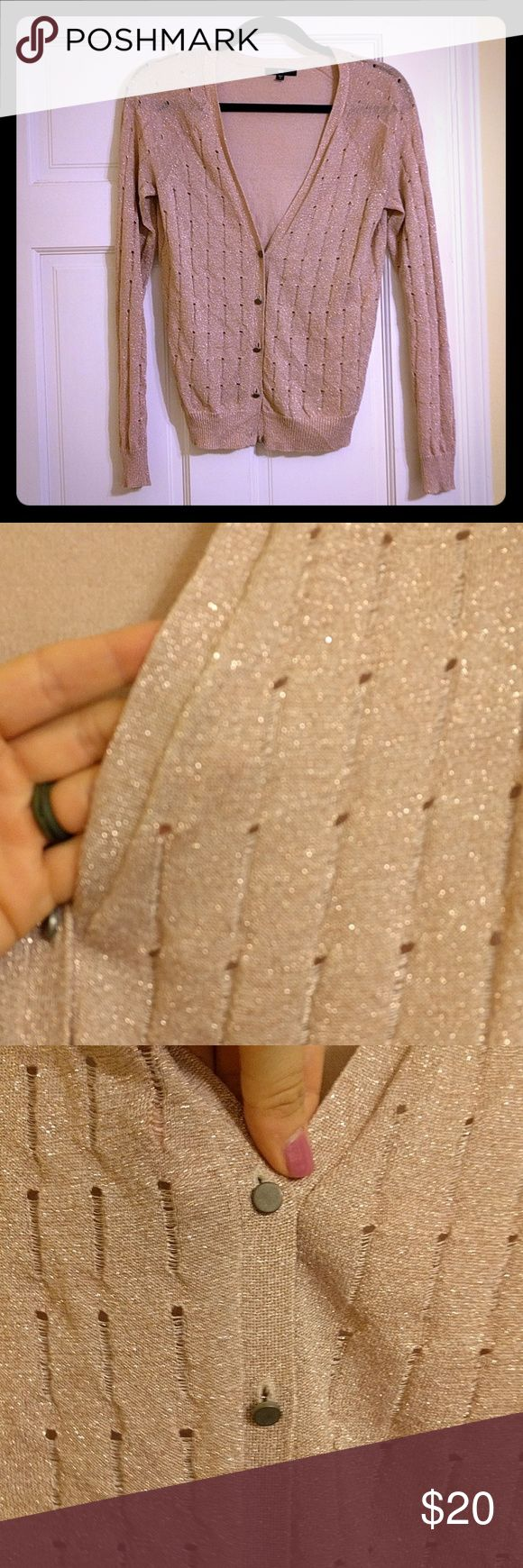 GUC sparkly rose gold cardigan Gorgeous rose gold cardigan excellent used condition. GAP Sweaters Cardigans