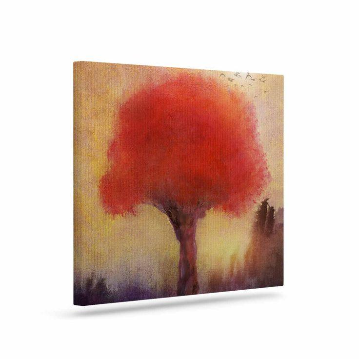 "Viviana Gonzalez "" Red Tree"" Yellow Purple Canvas Art"