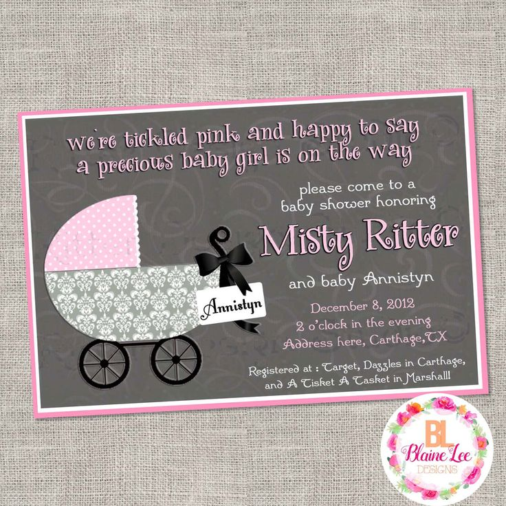 Grey Pink Chic Carriage Baby Shower Invitation