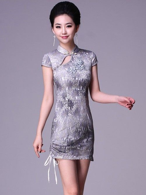 Gray short lace cheongsam qipao chinese evening dress for Cocktail oriental