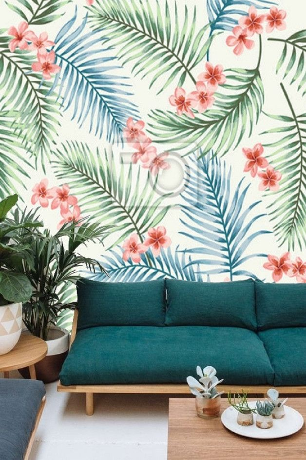 Tropische Fototapete mit Farnen und roten Blüten / tropical wall decoration, floral wallpaper made by Tapet-Show via DaWanda.com