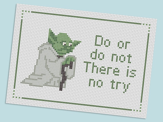 Yoda - Star wars cross stitch Allegra I may have your bday gift figured out.