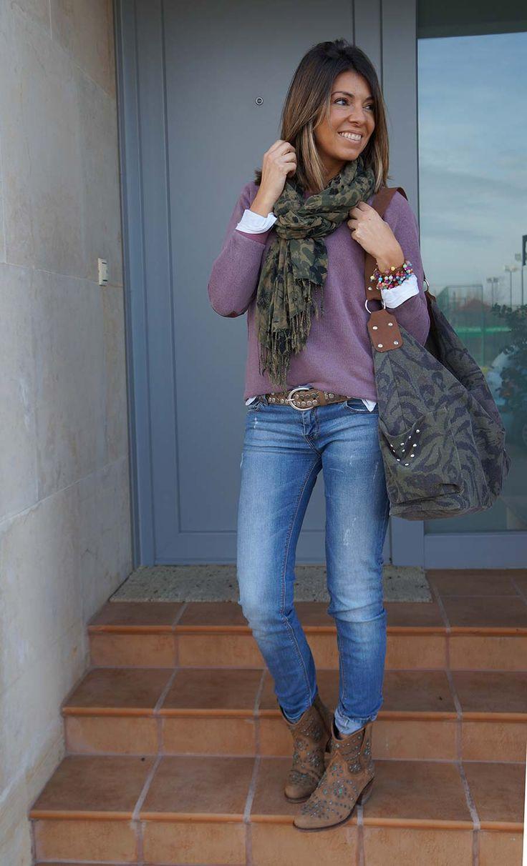 Jeans suéter y pashmina..ideal para el otoño