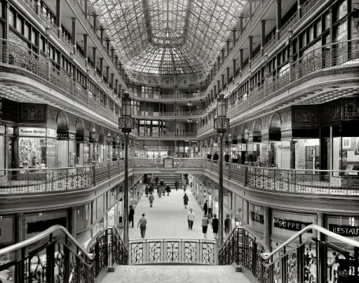 "March 7, 1966. ""Cleveland Arcade, 401 Euclid Avenue. Interior looking south."""