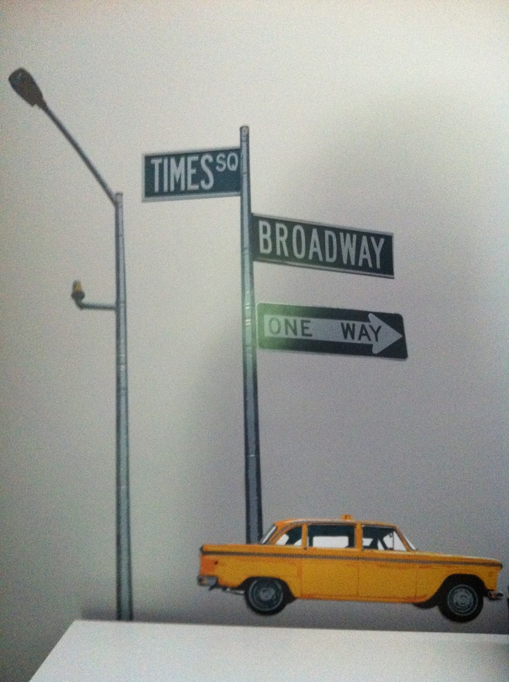 Addy 39 s broadway themed room decals stick on wall kid s for Broadway themed bedroom ideas