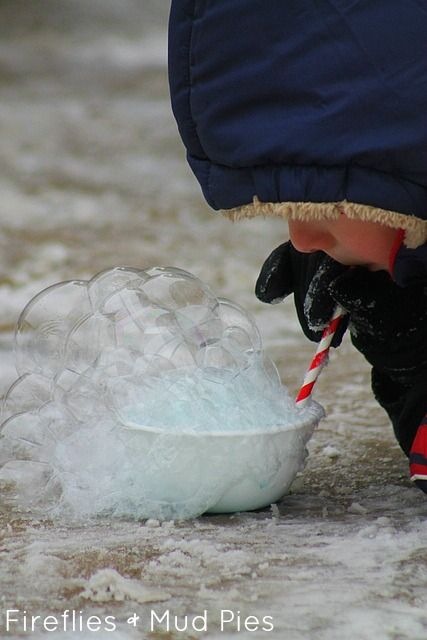 A fun, winter science activity: Freezing bubbles in a bowl!