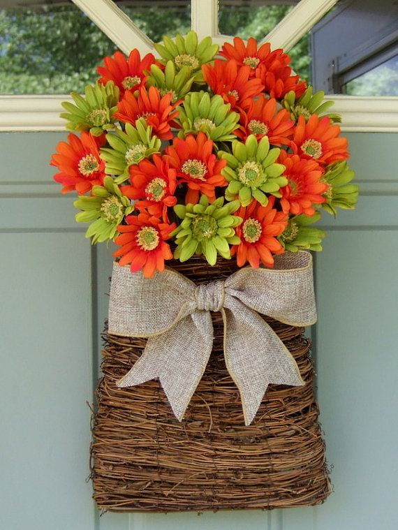 Fall Wreath  READY TO SHIP  Fall Door Basket  Fall by countryprim