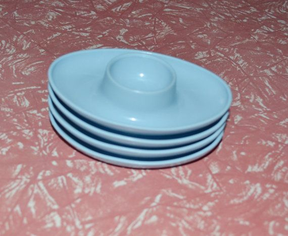 Pale Blue Egg Cups  Set of 4  Retro by AntiqueRetroVintage on Etsy, $8.00