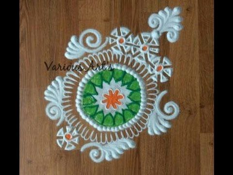 simple easy and colourful instant rangoli design. - YouTube