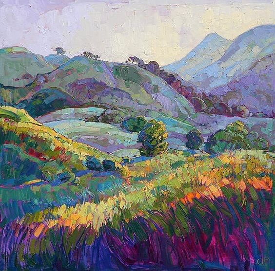 'Jeweled Hills' oil painting by Erin Hanson US.