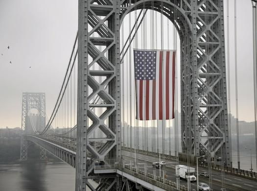 World's largest free-flying American flag hangs over George Washington Bridge