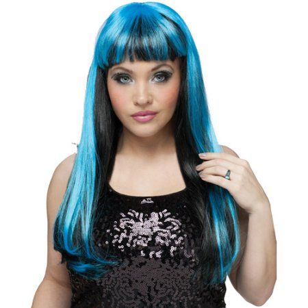 Natural Adult Halloween Wig with Highlights Accessory, Women's, Black