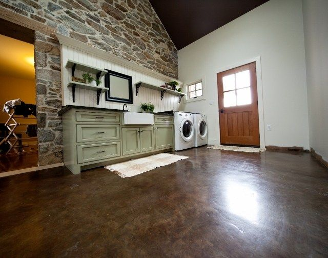 Brown Stained Concrete Laundry Room Floor Floors Reformed Llc Quarryville Pa