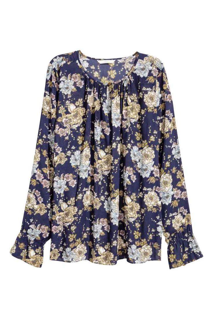 Long-sleeved blouse - Dark blue/Floral - Ladies | H&M