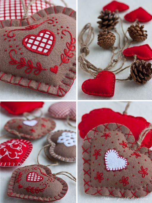 DIY. Christmas felted hearts with pinecones