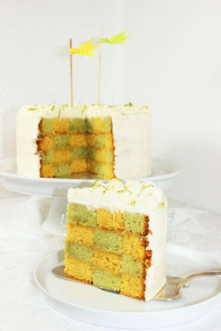 Schachbretttorte // Avocado and Carrot Chessboard Cake