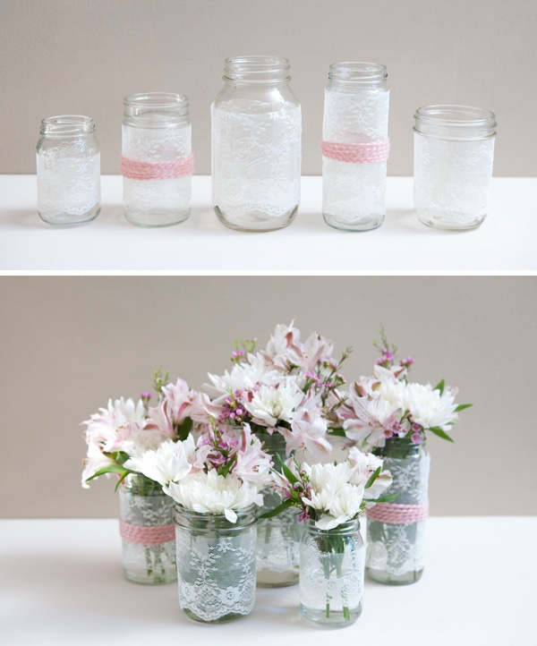 how to sew lace covers on jars..for wedding or even regular home decor