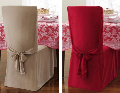 Faux Suede Holiday Dining Chair Cover W/ Tieback - Red, Tan