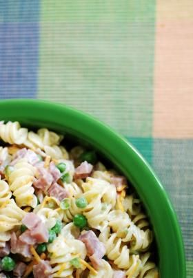 The salad, based on one found at Ruby Tuesday's, is simple and straightforward: Rotini pasta, diced ham, peas and a little green bell pepper tossed in a mayonnaise-based dressing.  Rainier Ehrhardt/Staff