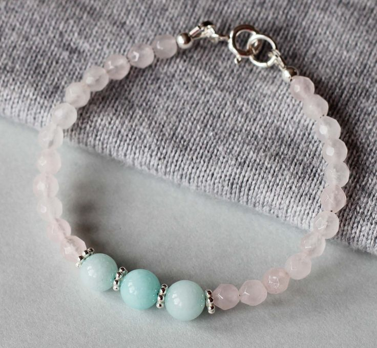 Rose Quartz and Amazonite Gemstones with Sterling Silver Beads Girl's Bracelet by ILgemstones on Etsy