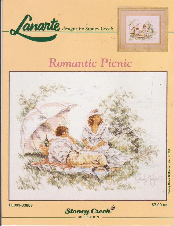 Romantic Picnic counted cross stitch pattern by beththebooklady, $7.99