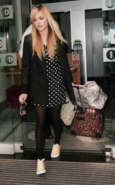dress. hair. trainers. leopard print luggage. fearne cotton is the fiercest.
