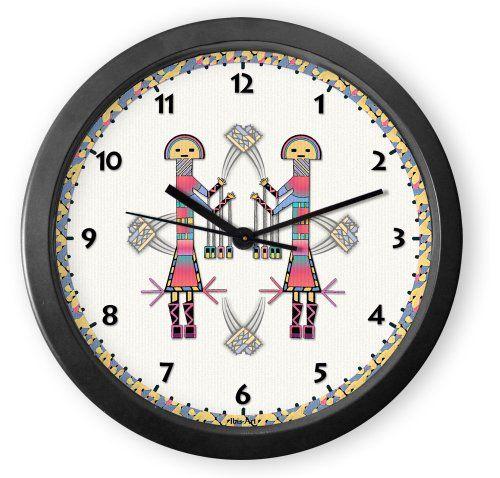 From our Southwestern Clocks category, Rainbow Kachina Round Acrylic Wall Clock features Native American kachinas from a sand painting. This clock has a second hand and makes a ticking sound. $34.50