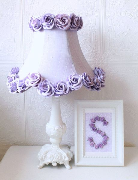 This elegant bell-shaped, scalloped kids lamp shade is made with the finest lavender Dupioni Silk and adorned with rows of gorgeous large lavender Mulberry paper roses. This girl's lamp shade is the p