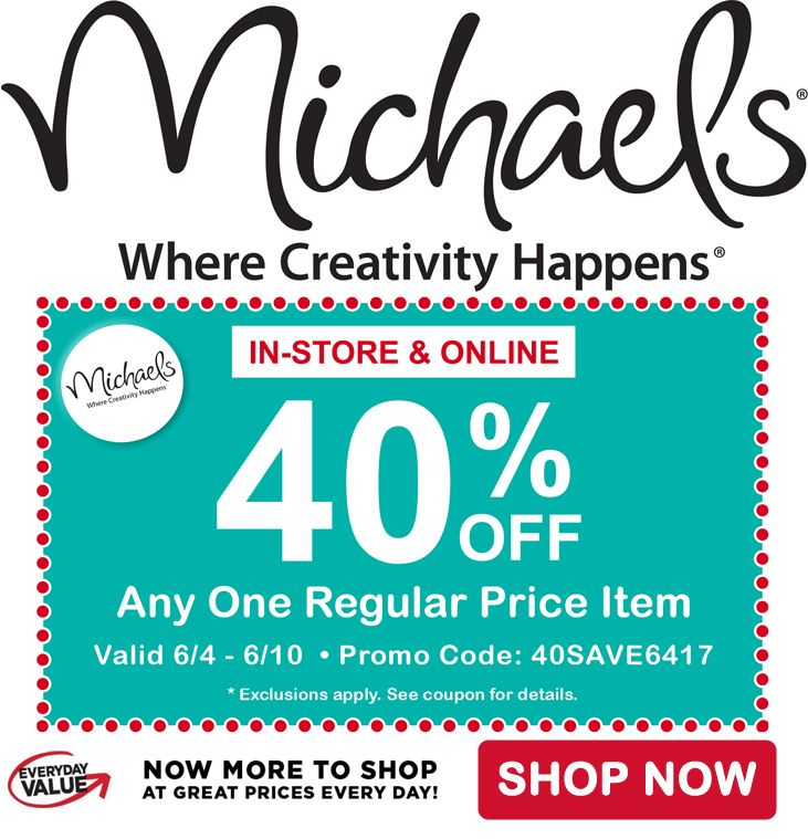 40% off any one regular priced item at Michael's Craft Stores! http://www.anrdoezrs.net/click-8073674-12965550 afflink #coupon #craftcoupons