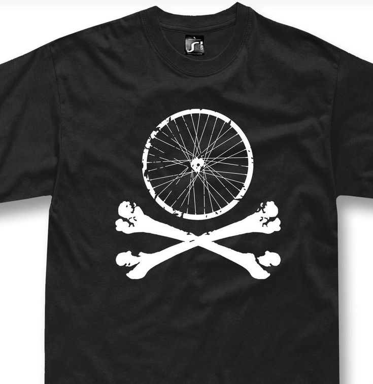 Bike wheel skull t-shirt Mountain Bike mtb Bicycle downhill