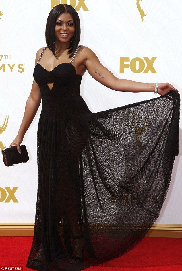 Countess of the Empire: Outstanding lead actress in a drama series nominee Taraji P. Henson struck a dramatic pose on the Emmys red carpet on Sunday