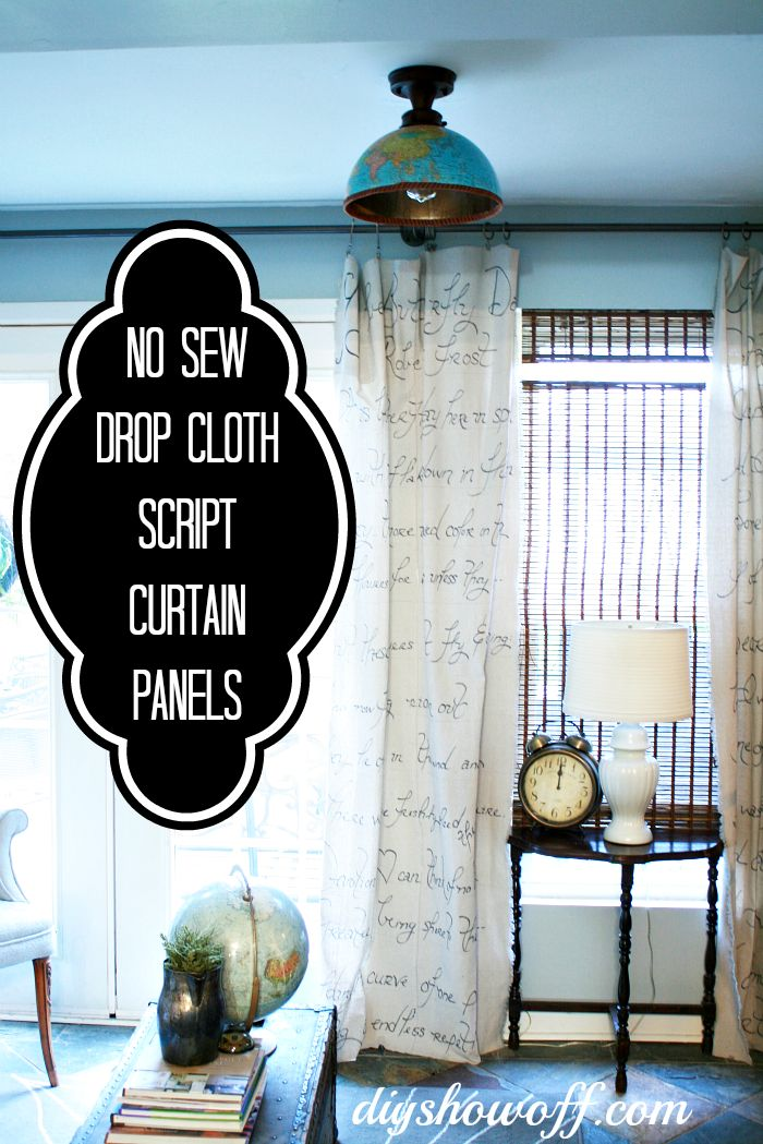 No-Sew drop cloth script curtains hung with clips