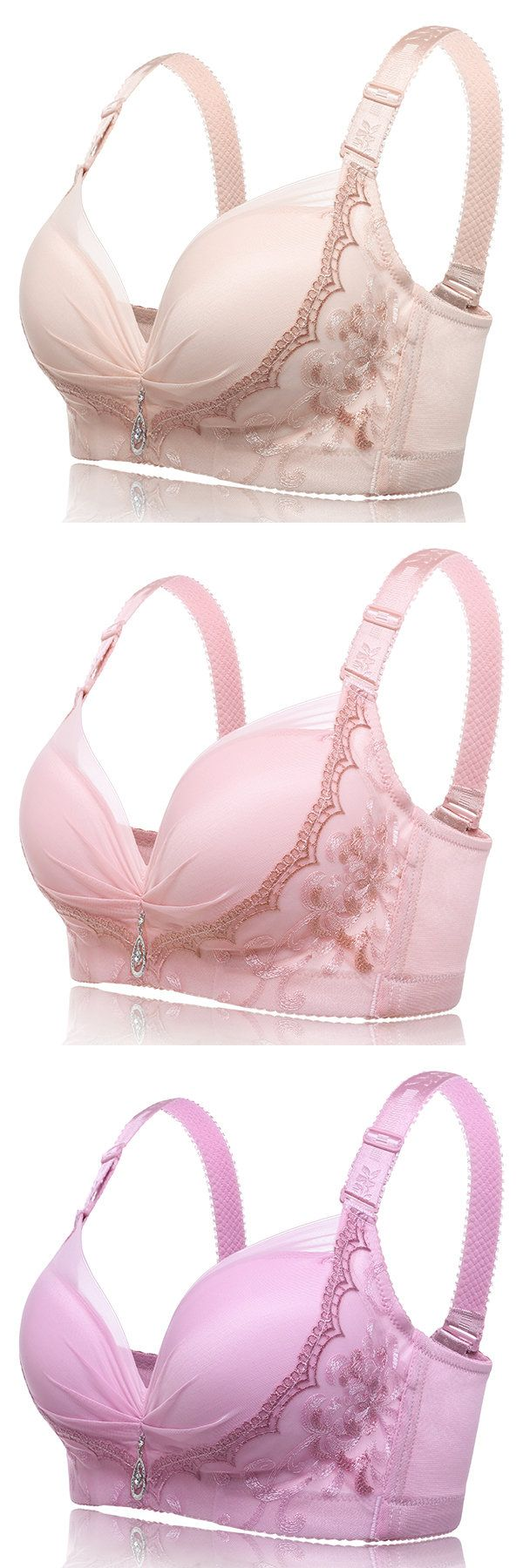 Wireless Soft Gather Embroidery Adjustable Bras