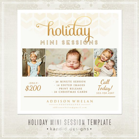 Holiday Mini Sessions template for photographers. Photography marketing   $6