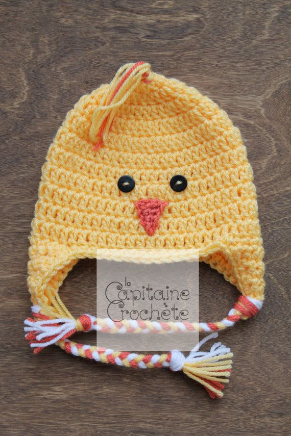 SALE 3-9 months hat chick yellow beanie by LaCapitaineCrochete