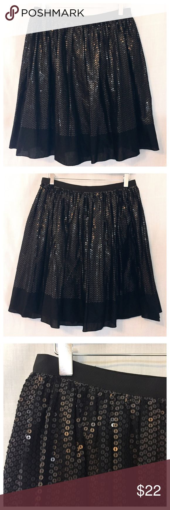 """Talbots Black Sequin Full Bubble Skirt 10P NWOT Talbots Black Sequin Full Bubble Skirt 10 Petite 10P NWOT • Size 10 Petite (petite clothing is proportioned for women 5'4"""" and under) • Will also fit size 8 • New without tags • Black grosgrain ribbon waistband • Side zipper with hook and eye and button closure • 100% cotton shell • Fully lined in 100% cotton • 15"""" waist • 22"""" length • 4"""" at the bottom of the skirt are without decoration  • Black background with black matte sequins sewn on in…"""