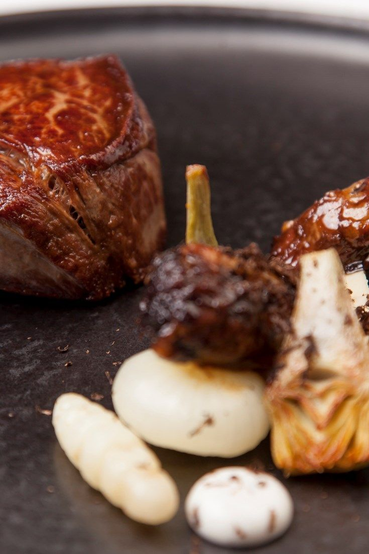 Nigel Mendham brings together four different types of artichoke in this elegant beef fillet recipe. Globe, baby and Japanese artichokes are cooked in a water bath, with a Jerusalem artichoke purée recipe finishing the dish beautifully.