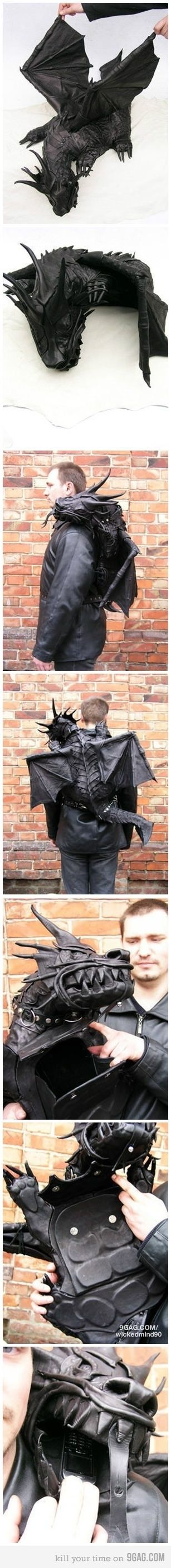 Leather Dragon Backpack @Bronwyn Freeze . Slightly over the top but look at the work that's gone into this beast , beautiful