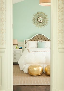 mint, brown, peach and gold....great color scheme for a bedroom...so warm and inviting! Wall is benjamin moore leisure green