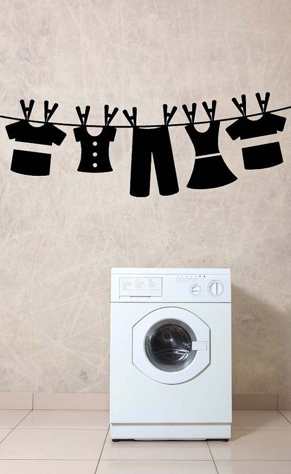 Laundry Hanging, Dress, Pants, Shirts, Clothes, Dirty, Clean - Decal, Sticker, Vinyl, Wall, Home, Laundry Room Decor