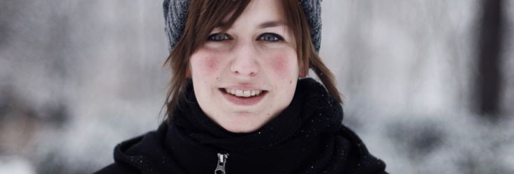 A woman with dry winter skin.