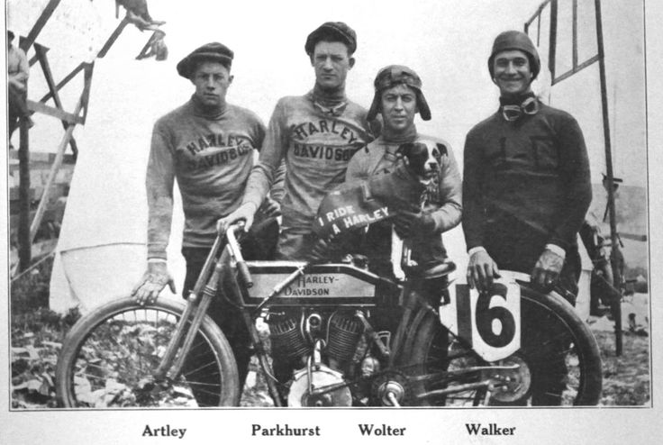 April 4, 1915: On his comeback, Otto Walker (on right) wins H-D's first national victory at the FAM's 300-mile road race on the streets of Venice, California. Walker's speed is 68.31 mph for 300 miles; he's followed by Red Parkhurst for H-D, then Excelsior's Goudy and Perry. Indian's top rider, Fred Ludlow, was not a factory rider and came 5th. Walker's victory over the established racing stars sets off H-D's winning streak.