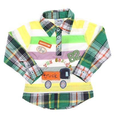 Yellow-Green-White-Purple Striped Collared Tee With Checked Undershirt. Truck Embroidery-AJ63071-Yel $14.00 on Ozsale.com.au