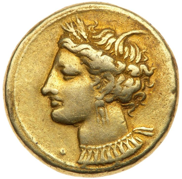 Zeugitania, Carthage. Electrum Stater (7.39 g), ca. 310-290 BC VF Head of Tanit left, wreathed with grain ears, wearing triple-pendant earring and necklace; before neck, pellet. Horse standing right on ground line with quatrefoil of pellets. Jenkins & Lewis grp. V; MAA 12. Lightly toned. A few scattered scratches on reverse. #Coins #Ancient #Judean #MADonC