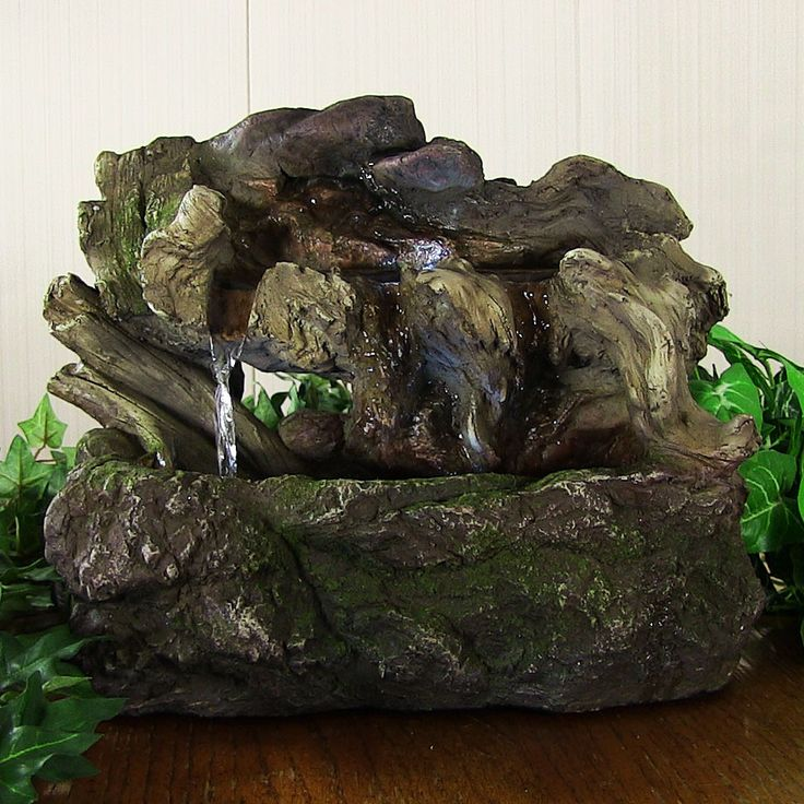 Indoor Table Top Fountain Aged Tree Trunk Fountain W/LED Lights By Sunnydaze