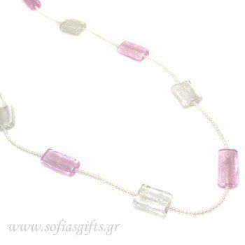 Handmade long necklace with white and pink glass stones and white pearls - Sofia - handmade jewlery & accessories
