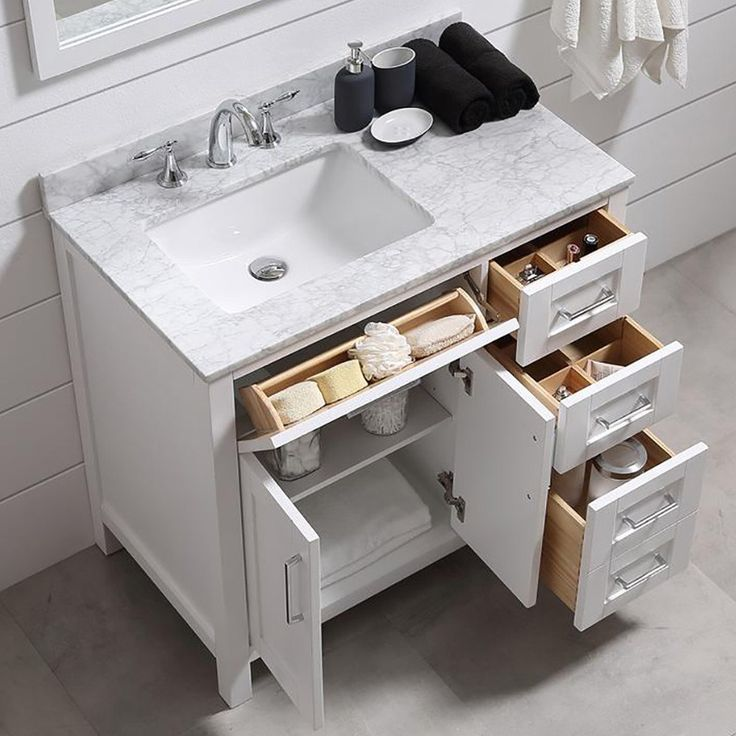 "An Epiphany About A Bathroom Remodel While Sitting In My Tub | terrific 36"" vanity for small bathrooms. Tons of storage from Ove Decor. More info on the blog."
